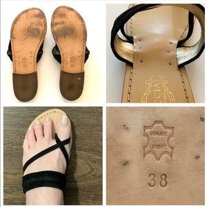 Tuccia de Capri Shoes - Tuccia de Capri Black Suede Leather Sandals